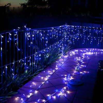 700 LED Icicle Christmas Rope Light with Memory Blue & White 49m