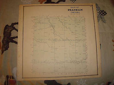 Antique 1865 Franklin Township Erie County Pennsylvania Handcolored Map Super Br