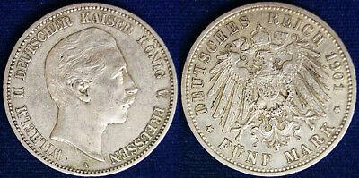 Germania Germany Prussia 5 Marchi Mark 1901 BB/Spl #4485