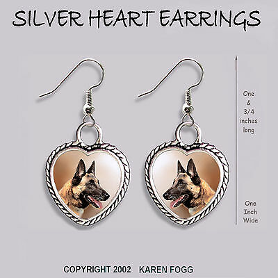 BELGIAN MALINOIS DOG - HEART EARRINGS Ornate Tibetan Silver