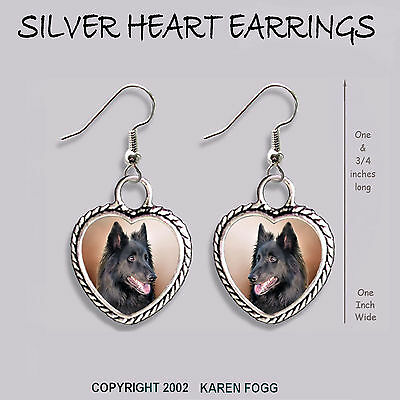BELGIAN SHEEPDOG - HEART EARRINGS Ornate Tibetan Silver