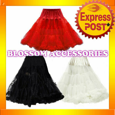 BAS10 Black Red White 65cm Rockabilly Long Petticoat Tulle Costume Underskirt