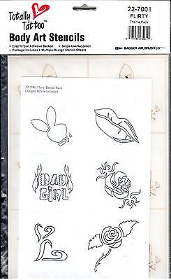 Badger Body Art Stencils - Totally Tattoo - Flirty Theme Pack