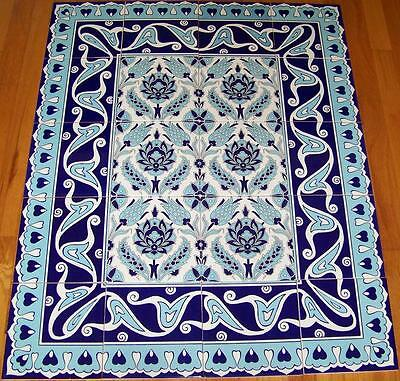 "Blue & White Iznik Floral Pattern Border 40""x32"" Ceramic Tile Panel Mural"