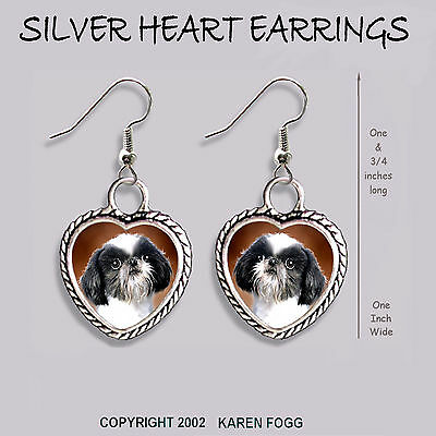 JAPANESE CHIN / SHIH TZU DOG - HEART EARRINGS Ornate Tibetan Silver