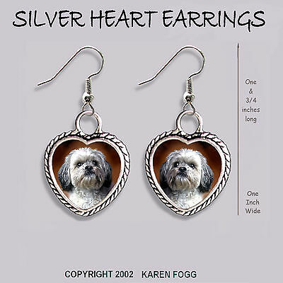 LHASA APSO DOG Sweet Face - HEART EARRINGS Ornate Tibetan Silver