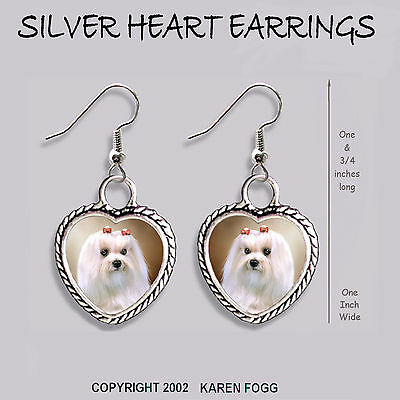 MALTESE DOG Show Cut - HEART EARRINGS Ornate Tibetan Silver