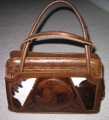 Vintage Indian Chief Leather Purse Hand Tooled Embossed w/ Pony Hair Aztec