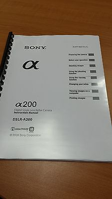 Sony Slr A200 Slr Camera Fully Printed Instruction Manual User Guide 159 Pages