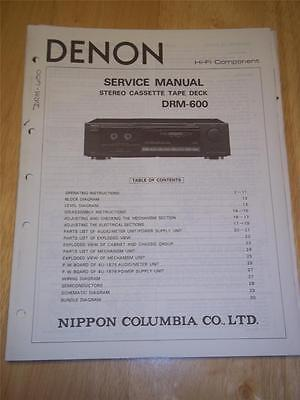 Denon Service Manual~DRM-600 Cassette Tape Deck~Original~Operating/Repair