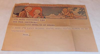 Vintage Very Old Valentine Day Greeting Message Card By Western Union