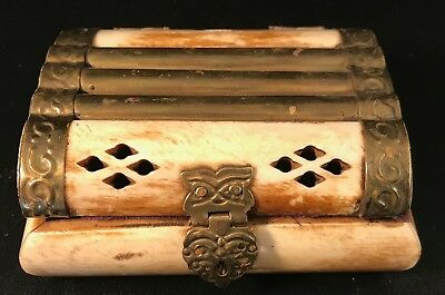 Rare Antique Brass Bone Ottoman Trinket Box Jewelry Vintage Box Purple Velvet *