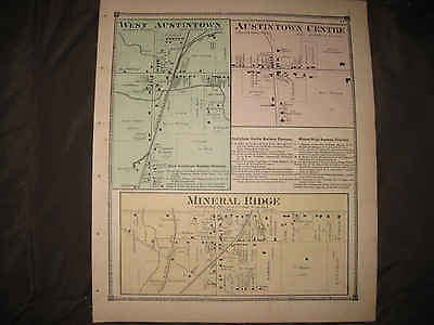Antique 1874 West Austintown & Center Mineral Ridge Mahoning County Ohio Map Nr