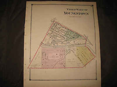 Antique 1874 Youngstown Third Ward Mahoning County Ohio Handcolr Map Railroad Nr