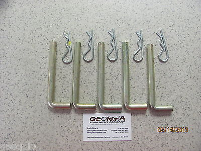 Lot Of 5 Box Blade Shank L-Pins & Keepers, Keeps Hole Style Shanks In Place