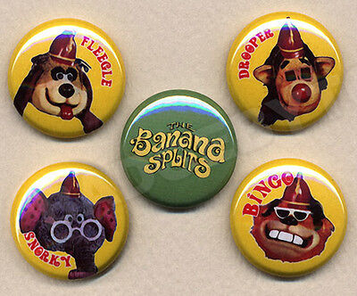 BANANA SPLITS Badges five Button Pins set - COOL !  25mm and LARGE 56mm size!