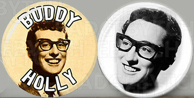 BUDDY HOLLY pair of Button Badge Pins - COOL!  -  25mm and 56mm size!