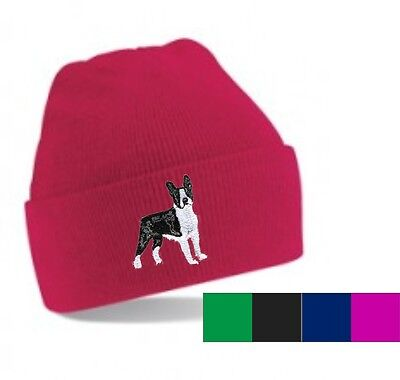 Boston Terrier Beanie Hat  Embroidered by Dogmania