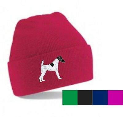 Smooth Haired Fox Terrier Beanie Hat Embroidered by Dogmania