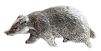 Badger Pewter Large Pin Badge - Hand Made in Cornwall - B27