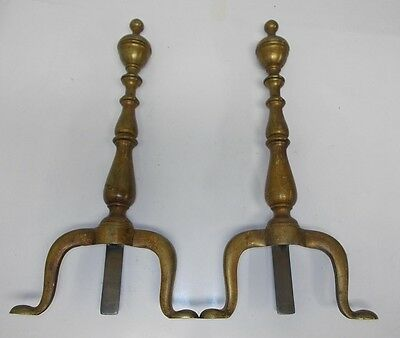 "Pair of Antique Solid Brass Fireplace Andirons 20"" 418 Signed With Maker's Mark"