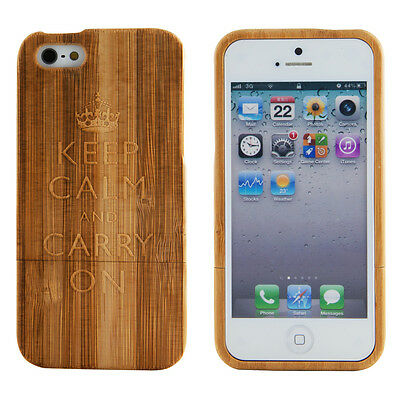 Apple iPhone 5 Genuine Bamboo Case Engraved Keep Calm and Carry On Wood Cover