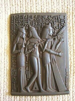 Large...Amazing Antique Egyptian Wall Plaque Ancient Royal Musicians Hand Carved