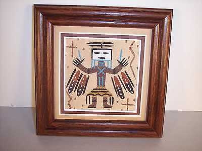 "Navajo Framed Sand Painting w/ Female Yei Figure by John Benally 5"" x 5"" NEW"
