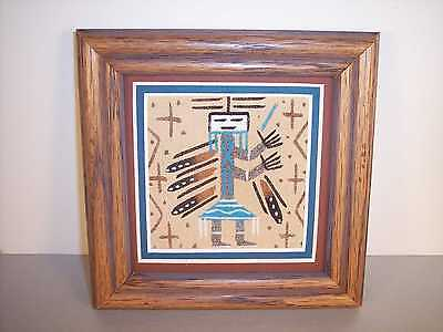"Navajo Dancing Female Yei Framed Sand Painting  by John Benally 5"" x 5"" NEW"