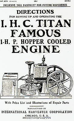 International Titan Famous Gas Engine Motor Hit Miss hopper cooled Book Manual