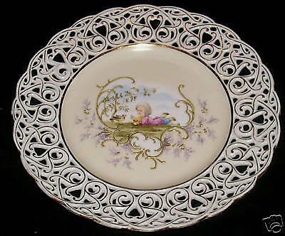 TIELSCH C1900 HAND PAINTED RETICULATED PLATE W/SCENE