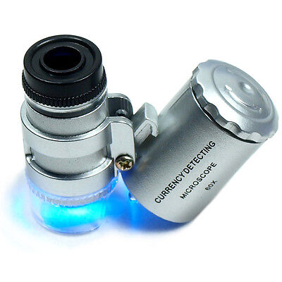 Mini 60X Jewelers Loupe / Magnifier with LED & Fluorescence Lights
