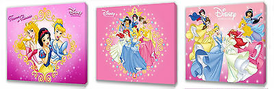 Disney Princess set of Three Wall / Plaques canvas pictures