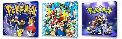 Pokemon set of Three Wall / Plaques canvas pictures