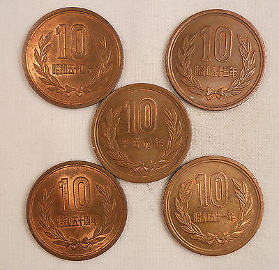 Japan Coin Lot - Five 10 Yen Coins - $3.49 with FREE SHIPPING!!