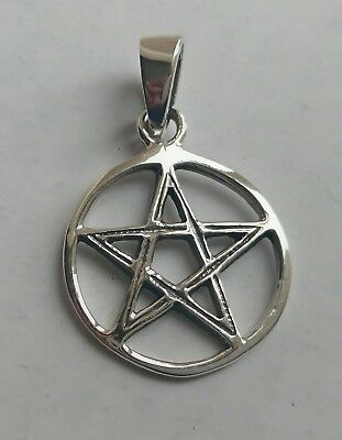 SILVER PENTAGRAM / PENTACLE PENDANT 2cm 925 STERLING WITH LEATHER NECKLACE & BOX