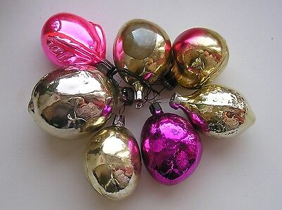 "Vintage Christmas silver Glass ornaments ""7 fruits"""