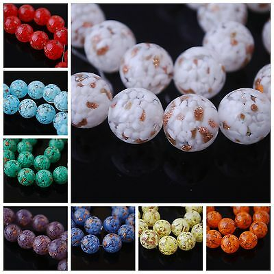 20 New Czech Glass Gold Foil Dot Round Necklace&Bracelet Finding Spacer Bead14mm