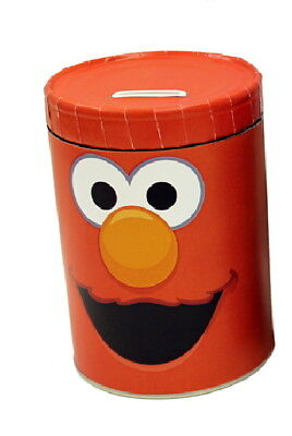 Sesame Street Tickle Me Elmo Large Round Illustrated Tin Coin Bank, NEW UNUSED