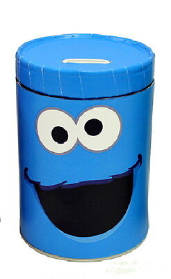 Sesame Street Cookie Monster Large Round Illustrated Tin Coin Bank, NEW UNUSED