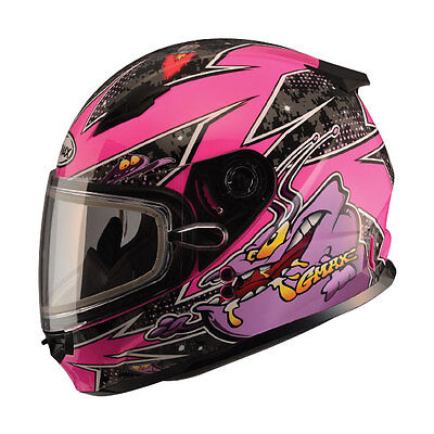Youth Snow Helmet Large Alien Pink Gmax Gm49Y Child Kids Double Lens Shield Dot