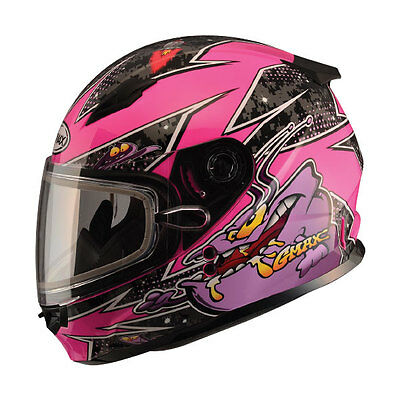 Youth Snow Helmet Large Slimed Pink Gmax Gm49Y Child Kids Double Lens Shield Dot