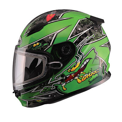 New Youth Snow Helmet Alien Green Gmax Gm49Y Child Kids Double Lens Shield Dot