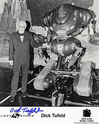 Dick Tufeld Posing with the Robot from the 1998 Lost in Space Movie