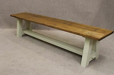 Rustic Pine Handmade A-Frame Bench With A Painted Base In Farrow & Ball 4Ft