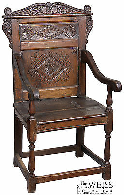 SWC-Walnut William & Mary Panel Back Chair, c.1670