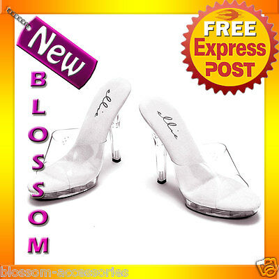 S15 Ladies Clear Glass Shoes Cinderella Fairy Tales Heels Fancy Dress Costume