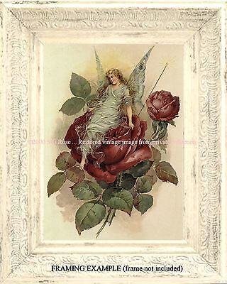 Victorian RED ROSE FAIRY Antique Vintage ART PRINT Fantasy Magic Wand Garden