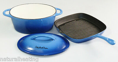 Cast Iron Casserole + Skillet Set enamelled BLUE Antony Worrall Thompson pan fry