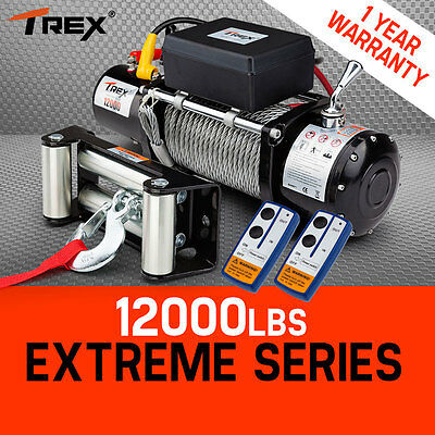 T-REX 12V Electric Winch Wireless 12000lbs - 5443kg  Remote Steel Wire Rope 4WD